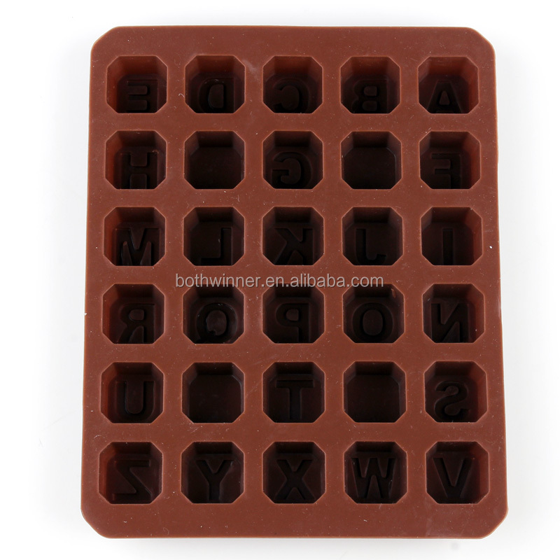 ice cubes tray	,H0T114	food grade letter alphabet silicone molds