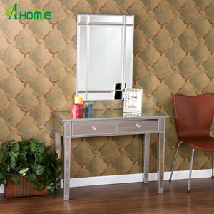 China manufactory clear Mirrored 2 drawer desk /console