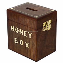 Rustic painted brown wooden hinged money saving box