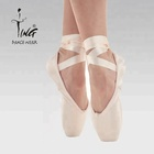 professional girls shiny satin pink ballet pointe shoes