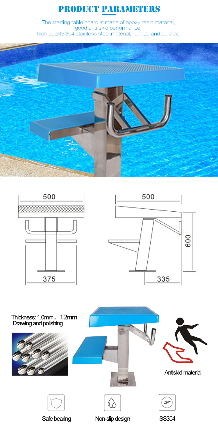 Swimming Pool Equipment Removable Pool Two Step Stainless Steel Starting Block