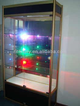 Free Standing Glass Display Cabinet With Led Light & Lock