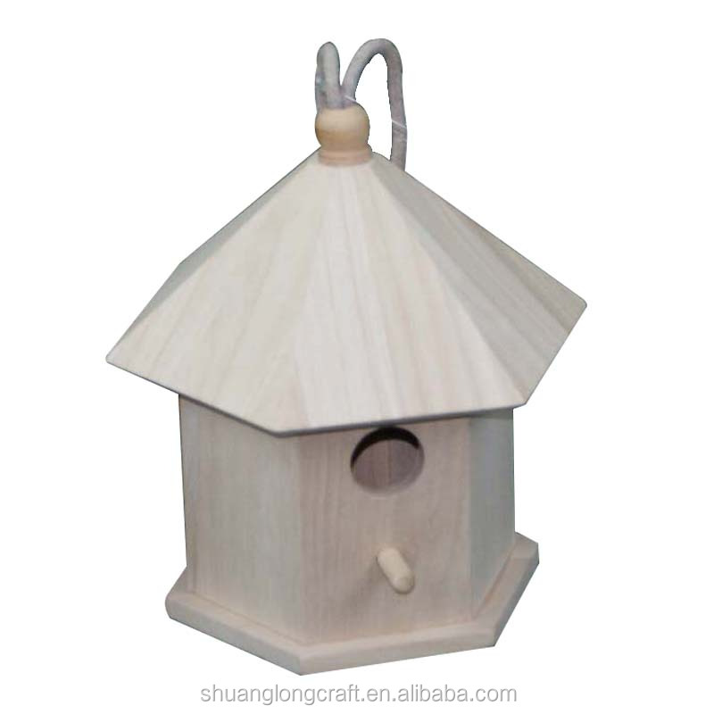 Hot sales new wooden bird cage like pet house with a soft bird nest