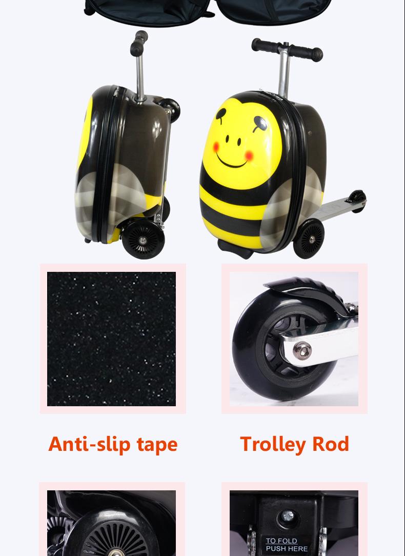 เด็กขี่กระเป๋าเดินทาง ABS 3D การพิมพ์พับกระเป๋าเด็กโรงเรียนกระเป๋า scooter กระเป๋าเดินทางกระเป๋าสกู๊ตเตอร์