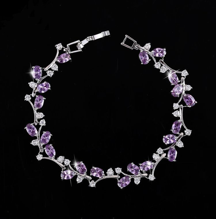 Fashion Jewellery Inlay Zircon Lady Bracelet Platinum Plating Flower Zircon Chain Link Bracelet