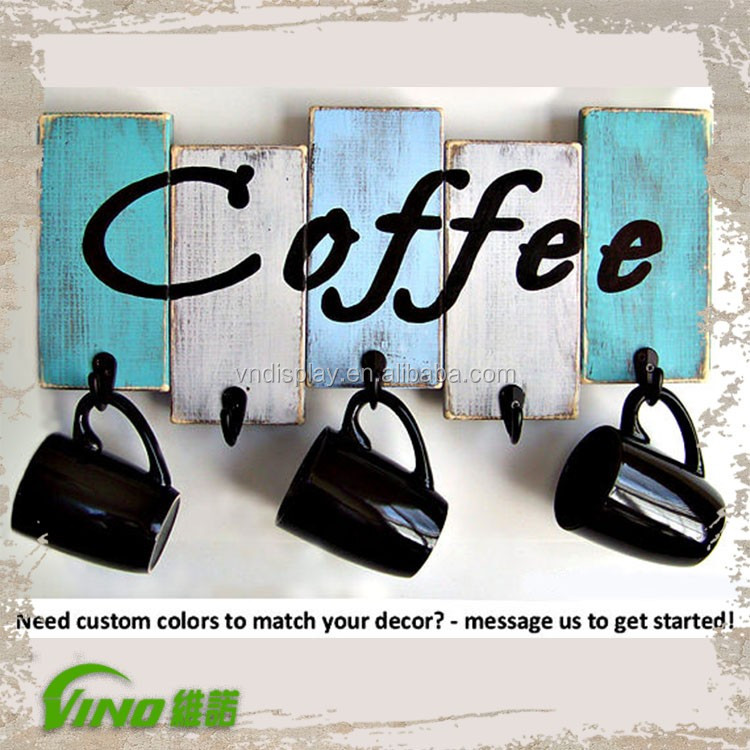 Wall Mount Wood Coffee Mug Rack Display Custom Printing Cup Holder With Hooks Antique Hanging Tea View Decorative