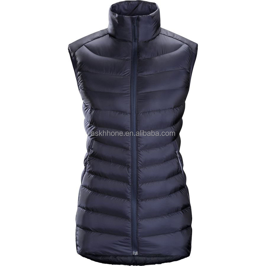 Eruopean hip length goose down vest for Outdoor Sports Wear