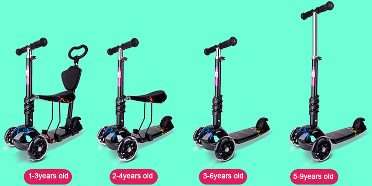 5-in-1 Toddler Scooter, 3-Wheel Mini Kick Scooter with LED Light Up Wheels, Adjustable Handlebar and Removable Seat for Children