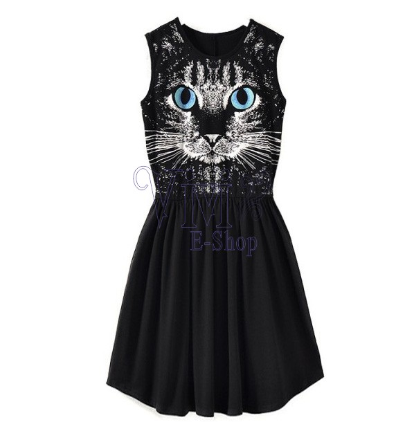 3f841cc56dc New Arrivals 2015 Women Dresses Black Blue Eyes Cat Printed Sleeveless  Summer Dress Short Vest Tank Casual Dress Sundress ZDD