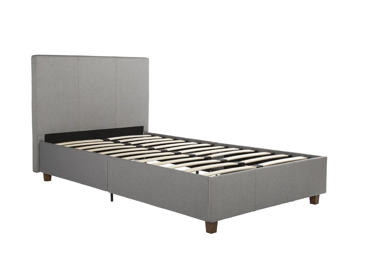 c8de1dc6c07 DHP Cambridge Upholstered Linen Platform Bed with Wooden Slat Support and Under  Bed Storage