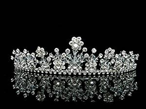 Handmade Bridal Flower Rhinestones Crystal Wedding Crown Tiara T607