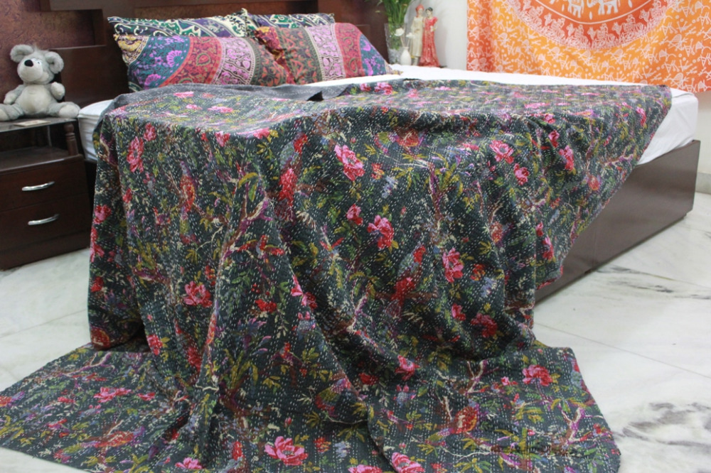 Indian Kantha Quilt,  Bohemian Kantha Rallies, Reversible Bedsheet (TWIN Size, 100% Premium Quality)Decorative Vintage Bedspread