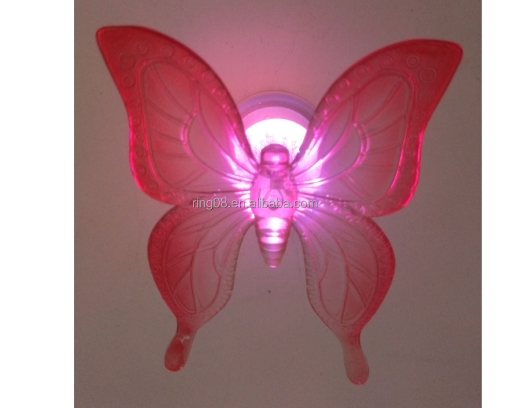Yejia very popular LED acrylic Spring Series Red Butterfly with corlor changing light decoration