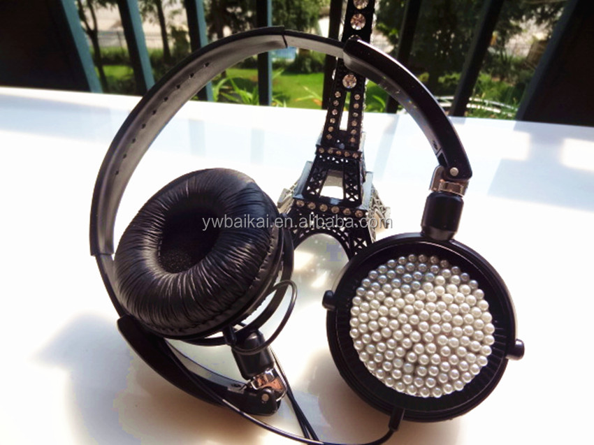 Wholesale high quality shiny side black headphones