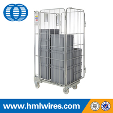 Transport galvanized folding metal wire mesh cargo cart