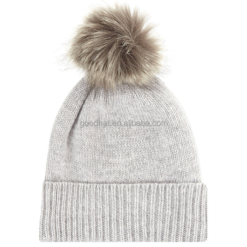 06926ef511e Knitted real fur pom pom attached crochet fancy beanie baby hats wholesale