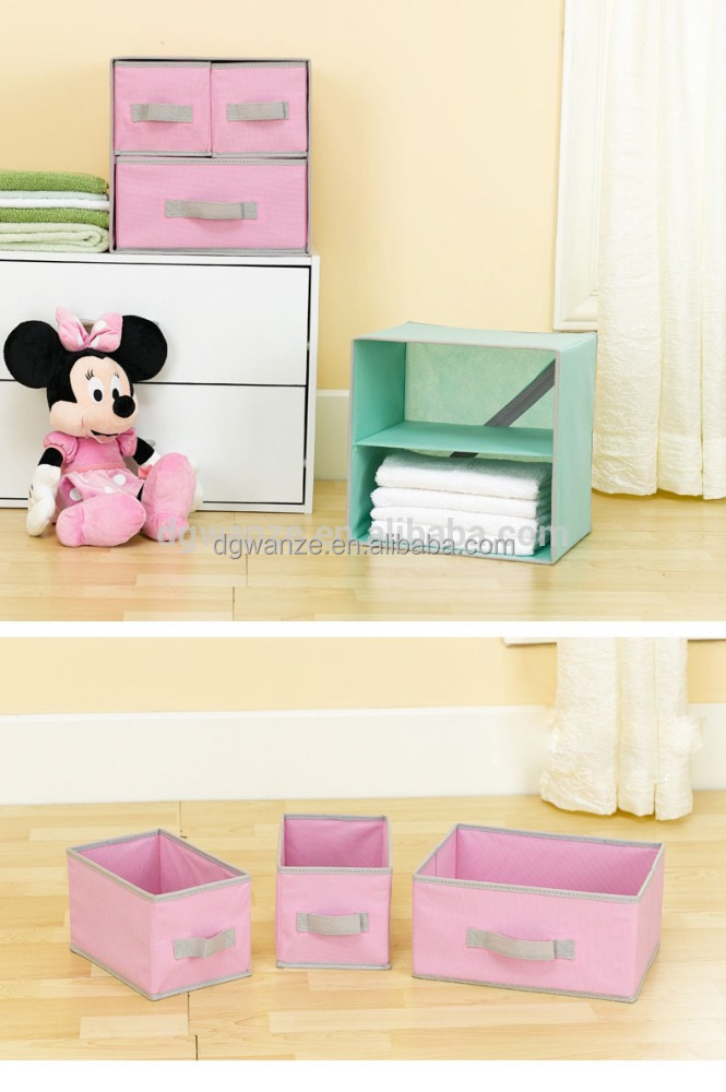 Non Woven 2 Layers 3 Drawers Decorative Cardboard Drawer Storage Box