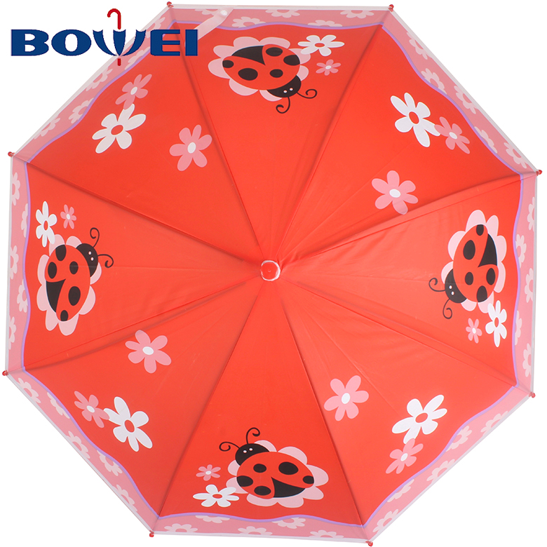 2020 Hot selling POE material automatic cute kid print umbrella