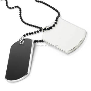 Army Style Dog Tag Pendant Mens Necklace Black White With Silver Edged