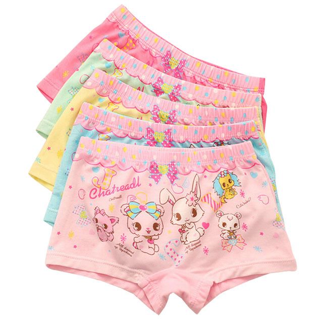 Baby children panties for girls briefs soft cotton & modal child underwear cartoon rabbit kids boxers underpants 2-12 years 6pcs