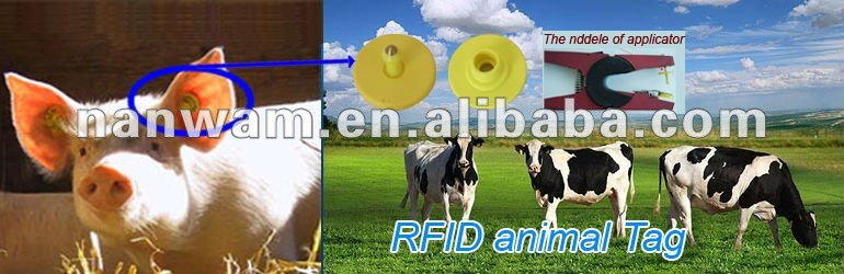 Passive UHF RFID Long Range Animal Ear Tag with ISO 18000-6C 840~960Mhz