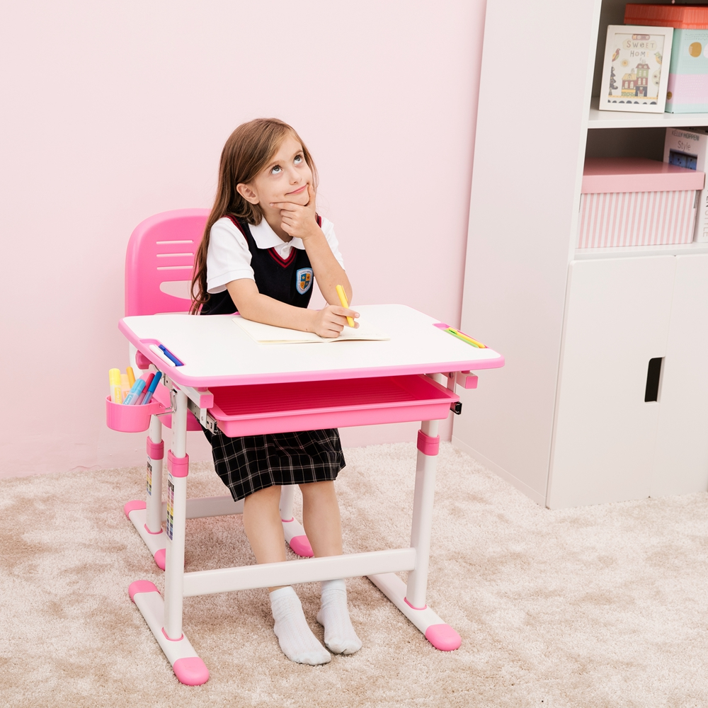Height Adjustment Kids Study Table And Chair Set Anti-pinch Safety Design children's study desks and chairs set