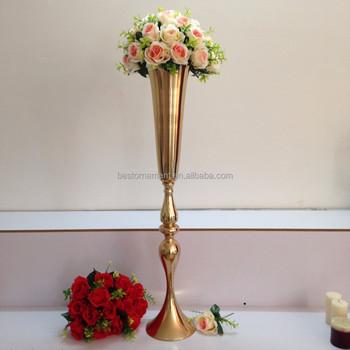 Wedding Metal Gold Color Flower Vase Column Stand For Wedding