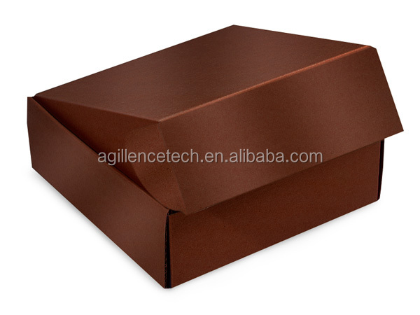 Customized Black Gourmet Shipping Boxes Auto Lock Boxes,1-piece with fold-over lid, for gourmet gift packaging