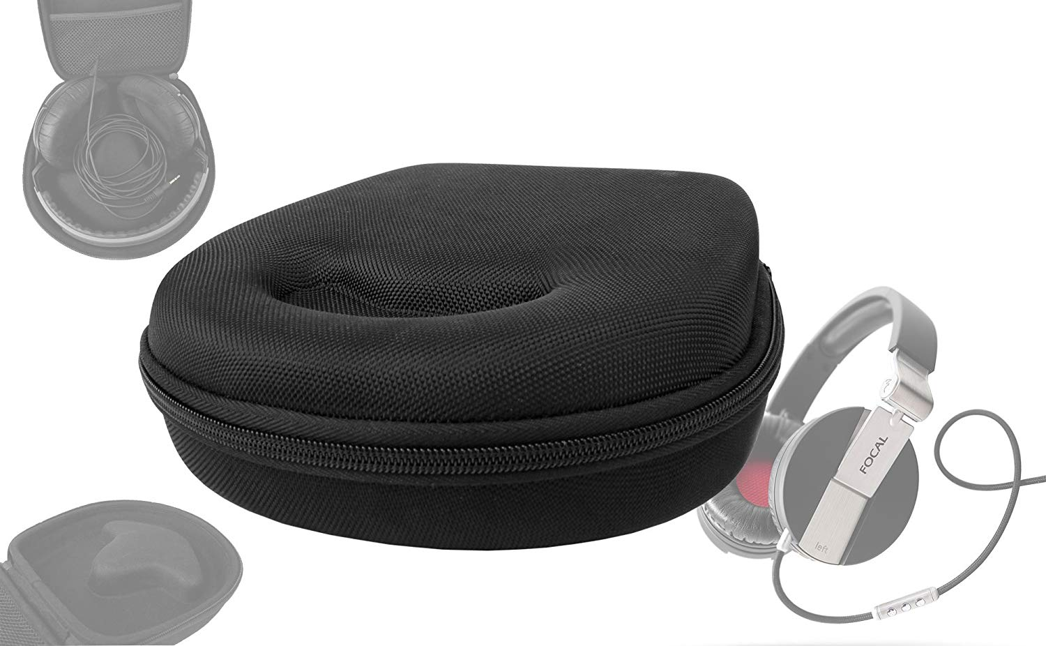 DURAGADGET Hard EVA Storage Case For Headphones/Earbuds, With Compartment (Black) For Focal Spirit One