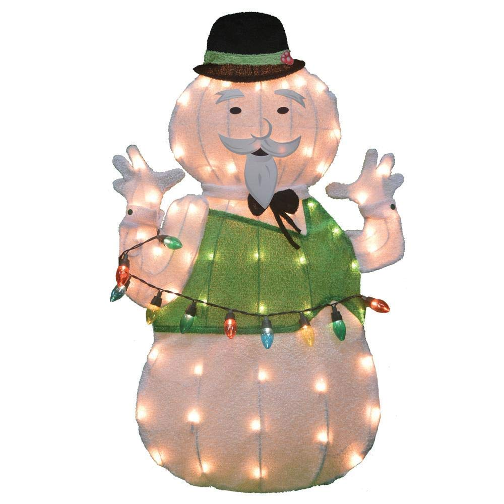 Lighted Tinsel Rudolph Movie Sam The Snowman Sculpture Outdoor Christmas Decoration Holiday Yard Art Display