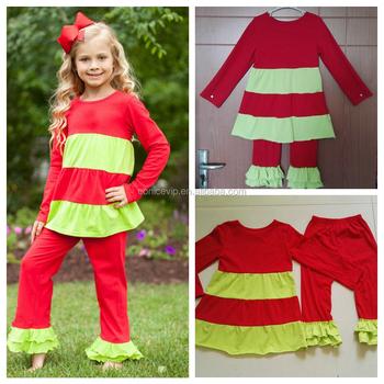 American Children Christmas Clothing Set Match Ruffle Pants High ...