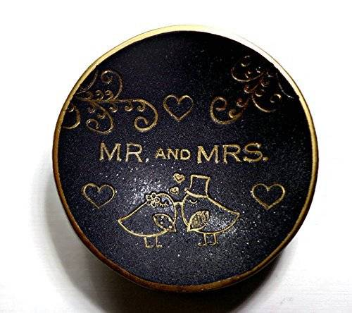 Lovebirds Black & Gold Mr. & Mrs.Ring Dish Handmade Jewelry Holder Wedding Gift- Polymer Clay Dish- Home Decor- Gifts for Her-Sale