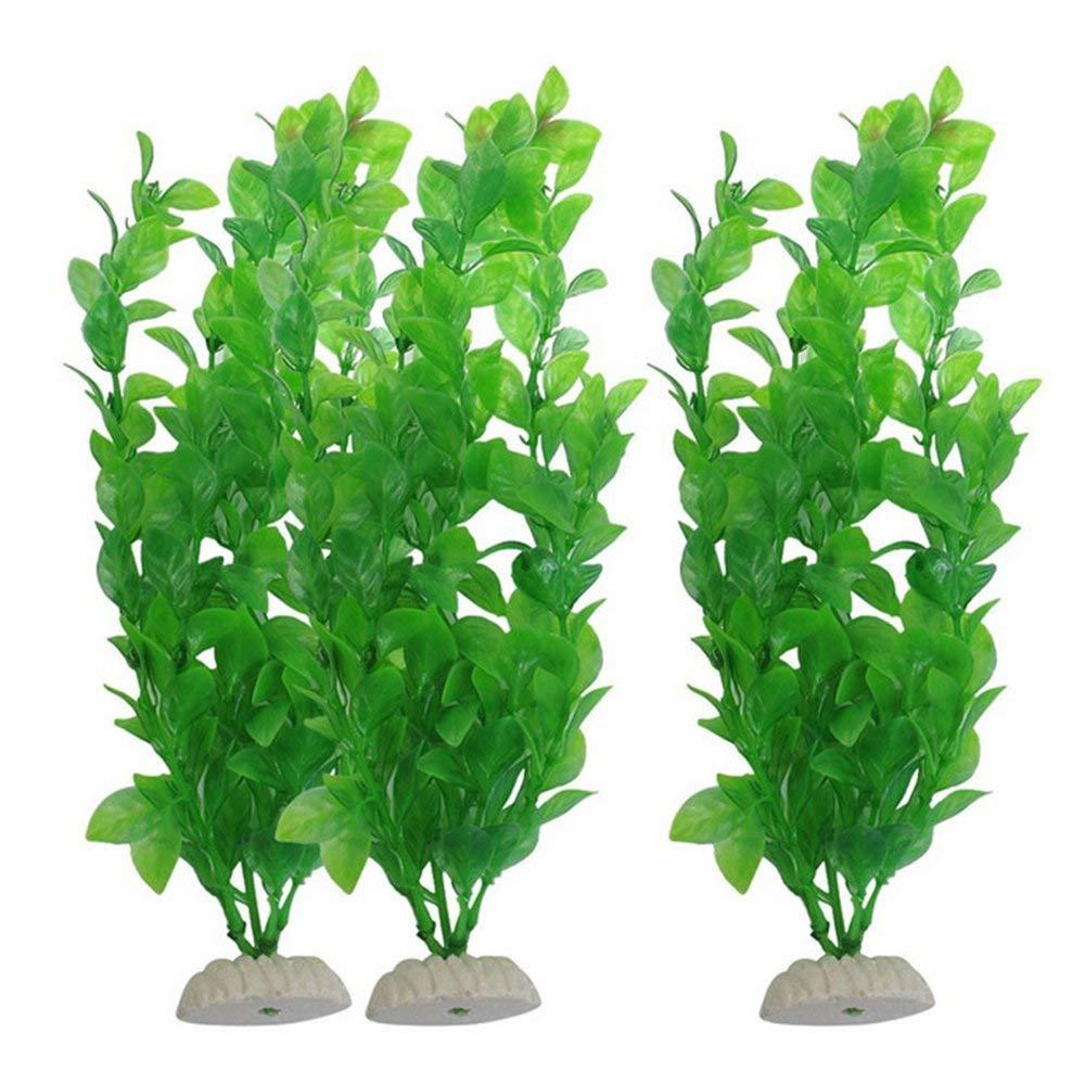 GZQ 3 Pcs Artificial Aquatic Plants Green Aquarium Landscap Grass Plants Ornament Fish Tank Decorations