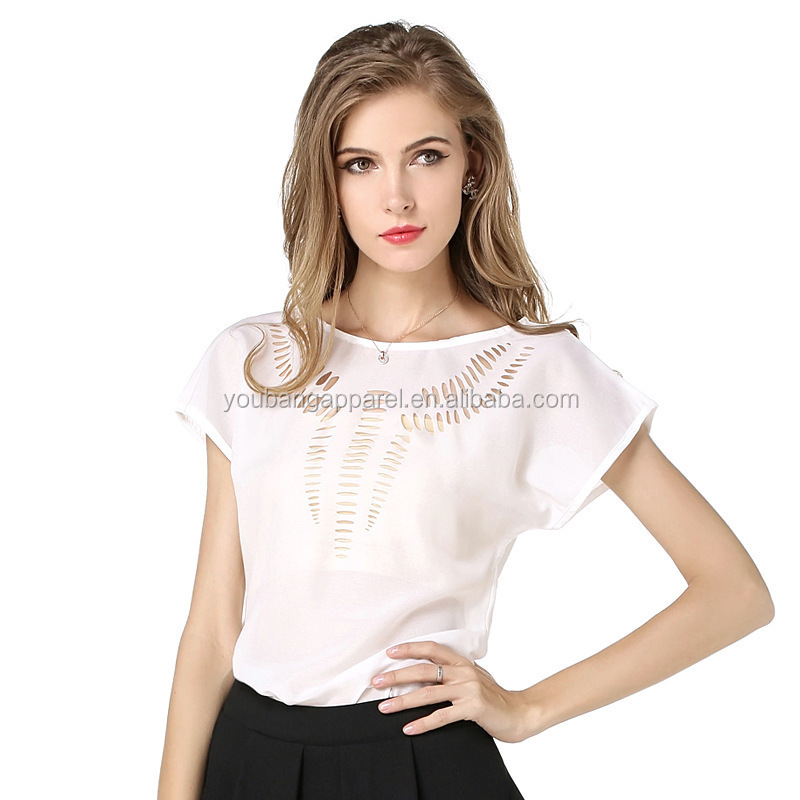 hot sale pink lady hollow out short sleeve women blouse