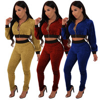 2019 latest Women Fashion Sparkly Metallic Silk 2 Pieces Set Long Sleeve Crop Top+Slim Long Pants jogger tracksuits