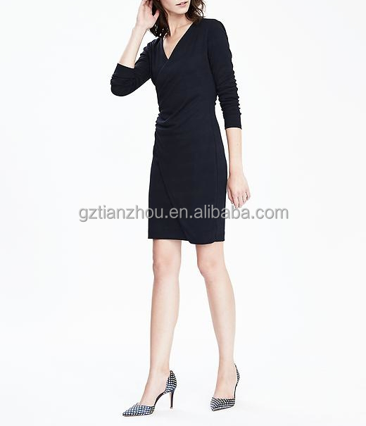 China Guangzhou clothing OEM V-neck Three-quarter length sleeves Faux-Wrap Knit women Dress