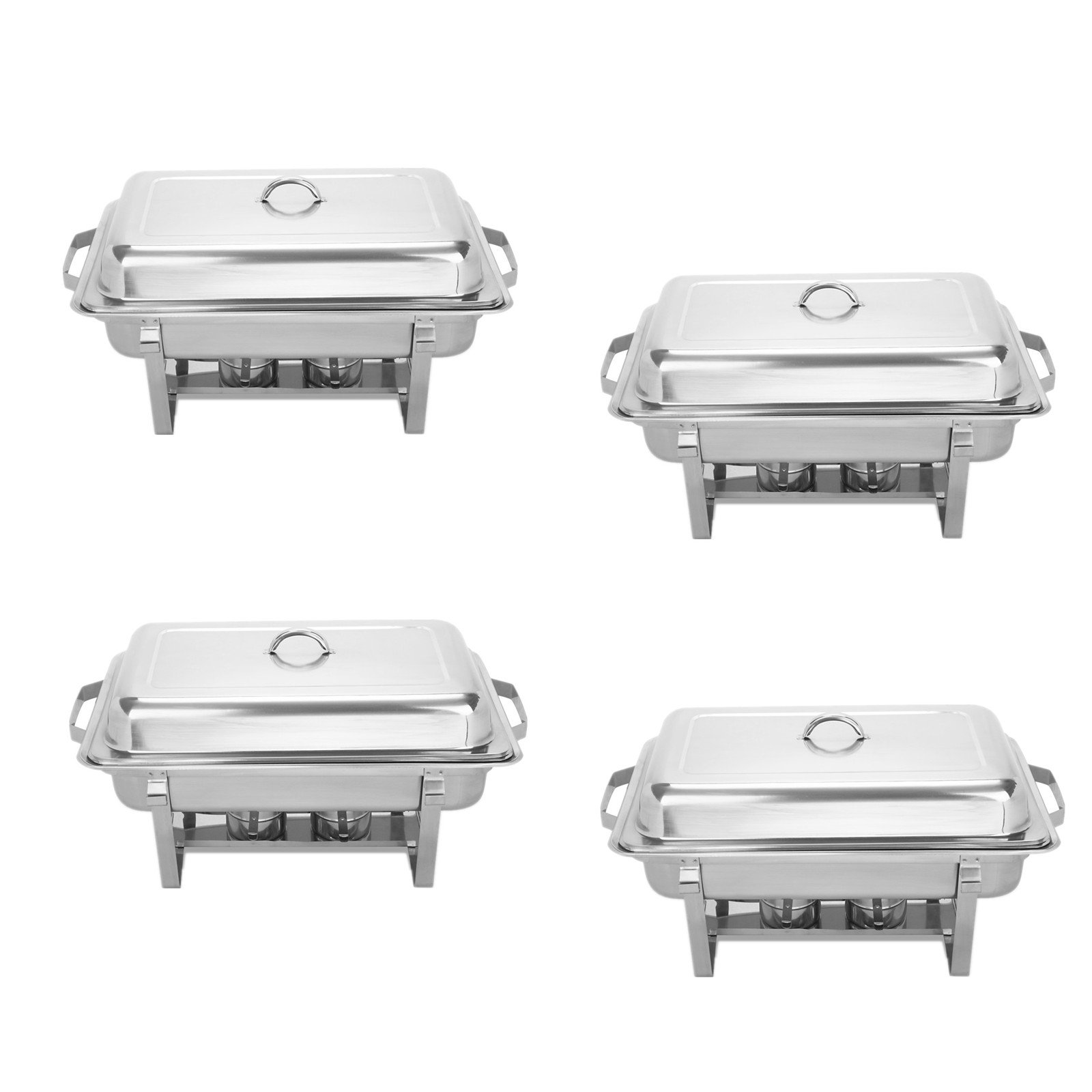BestEquip Chafing Dish Set 4 Pack 8 Quart Chafer Dish Set Full Size Stainless Steel Chafer with Foldable Frame (pack of 4)