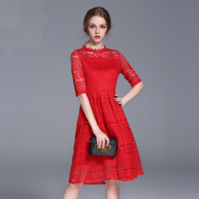 LYQ004 European station 2017 spring new large size women embroidered red dress sexy lace European and American dress