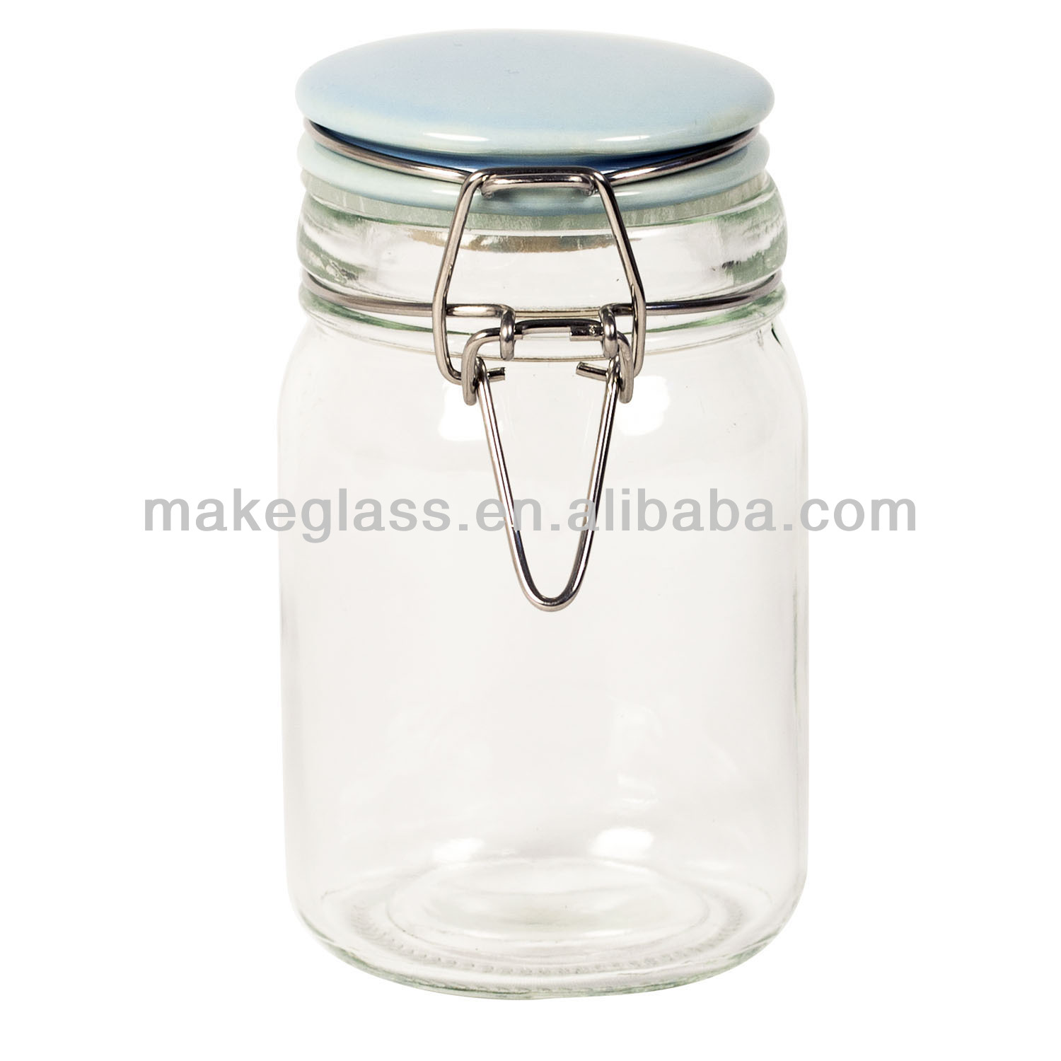 Glware Air Small Gl Jar With Ceramic Lid Clip And Mat Storage