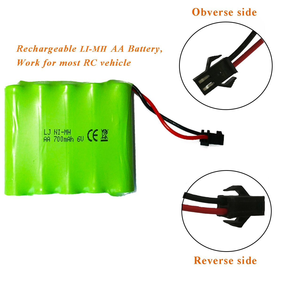 AA Rechargeable Battery Pack 6V 700mAh Ni-Mh Batteries SM 2P Plug Connector, High Capacity Battery Pack Universal Spare Battery for Electric Toys Remote Control Rc Cars Vehicles