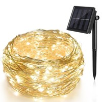 2017 Hot Sale micro led copper wire string lights 200 led solar string lights