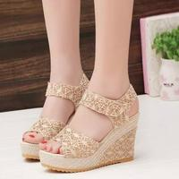 zm50530b new style summer lady high heel sandals women wedge sandal