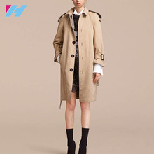 Reversible And Gabardine Trench Ladies Trench Coat 2017 With Cinch The Waist With The D-Ring Belt Coat