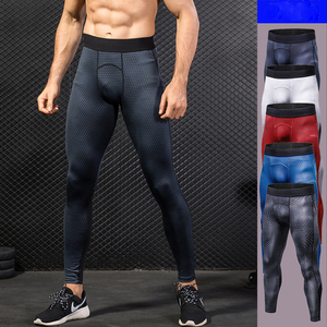 Men's printed fitness running training compression tight pants