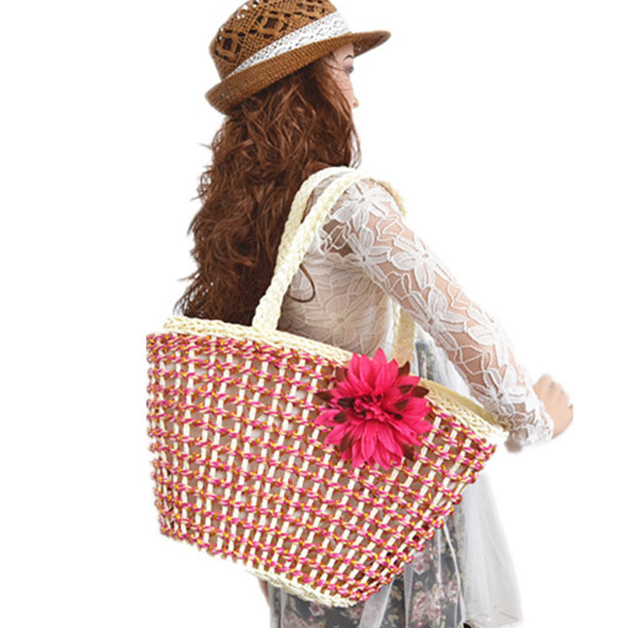 Summer style Fashion Nice Straw Handbags New Women Style Straw Summer Beach Tote Big Shoulder Bag Purse Handbag Straw Beach Bag
