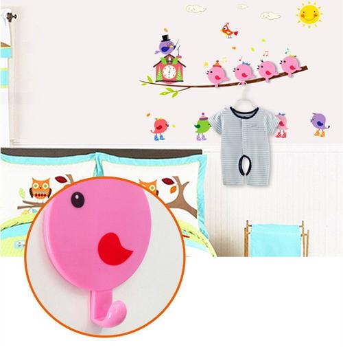 2017 Removable Pvc Cartoon Birds Branch Pattern Bathroom Wall Tile Stickers Home Decor Kids Hook Hanger