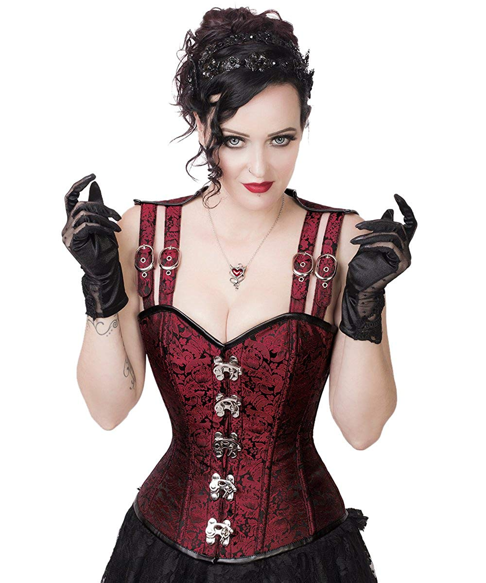 Spiral Steel Boned Gothic Corset with Shoulder Straps