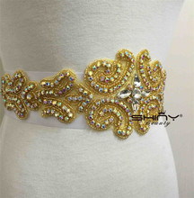 RA039 Gold Sparkling Rhinestone Satin Ribbon Sash Belt for Wedding Evening Party Dress