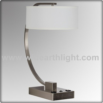 Ul Listed Brushed Nickel Hotel Power Outlet Bedside Lamp With Base ...