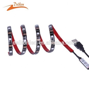 5V USB LED Strip 5050 60LEDs/m RGB IP20/IP65 TV Background Lighting with Mini 3 Key Controller 1/2/3/4/5m Set